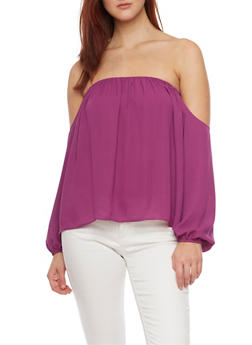 Draped Off the Shoulder Top in Chiffon - 1401068192046