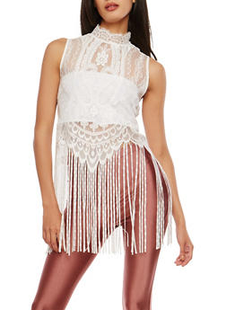 Fringe Trim Lace Top - 1401068192067