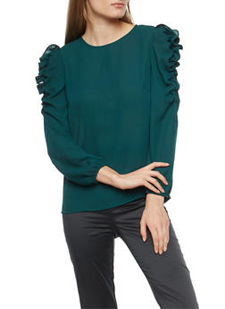 Textured Knit Ruched Sleeve Blouse - 1401068192153