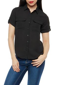 Sheer Button Front Shirt - 1401068192191
