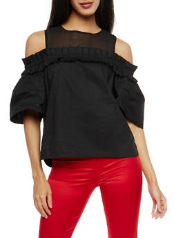 Mesh Yoke Pleated Detail Cold Shoulder Top - 1401068192217
