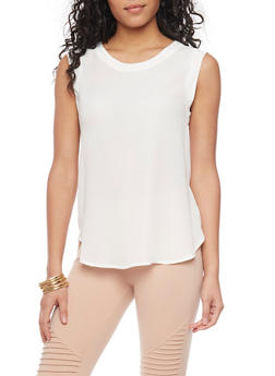 Sleeveless Crepe Top with Rounded Hem - WHITE - 1401068193516