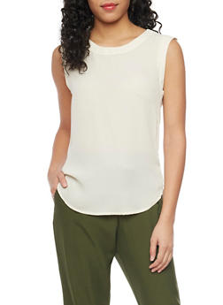 Sleeveless Crepe Top with Rounded Hem - 1401068193516