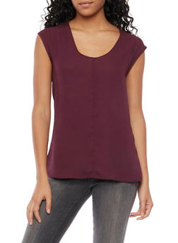 Chiffon Top with Scoop Neck - 1401068193561