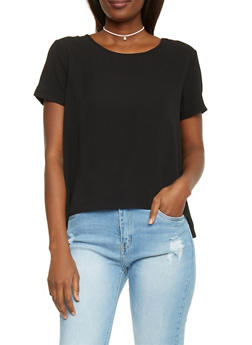 Lace Up V Back T Shirt - 1401069390068