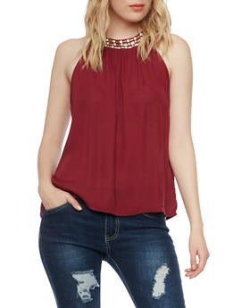 Halter Top with Jeweled Neckline - BURGUNDY - 1401069390080