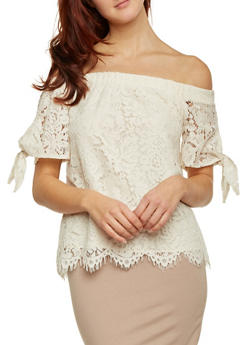 Off The Shoulder Lace Top with Tie Sleeves - 1401069390086