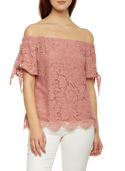 Off The Shoulder Top in Lace with Sleeves Ties - 1401069390086