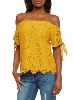 Off The Shoulder Lace Top with Tie Sleeves - MUSTARD - 1401069390086