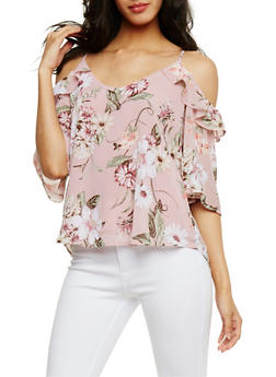 Cold Shoulder Floral Top with Back Keyhole - 1401069390116
