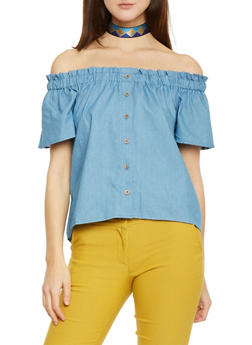 Off The Shoulder Button Front Chambray Top - 1401069390154