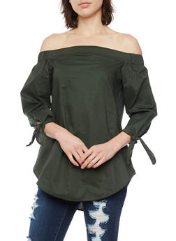 Off the Shoulder Top with Tie Sleeves - 1401069390156