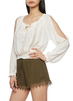 Cold Shoulder Peasant Top with Crochet Inserts - WHITE - 1401069390257