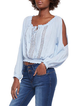 Cold Shoulder Peasant Top with Crochet Inserts - 1401069390257