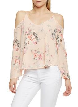 Floral Long Sleeve Off the Shoulder Top - 1401069390539