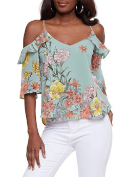 Floral Cold Shoulder Ruffled Top - 1401069390695