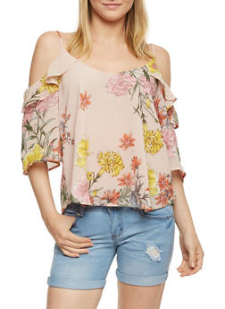 Floral Cold Shoulder Ruffled Top - 1401069390695