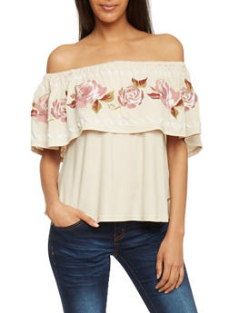 Embroidered Ruffle Off The Shoulder Top - 1401069390850