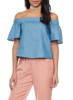 Off Shoulder Chambray Crop Top - 1401069390869
