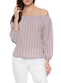 3/4 Sleeve Striped Off the Shoulder Top - 1401069390911