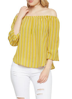 3/4 Sleeve Striped Off the Shoulder Top - MUSTARD - 1401069390911