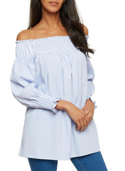 Smocked Off the Shoulder Striped Long Sleeve Top - 1401069390917