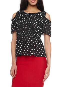 Polka Dot Cold Shoulder Chiffon Top - 1401069390929