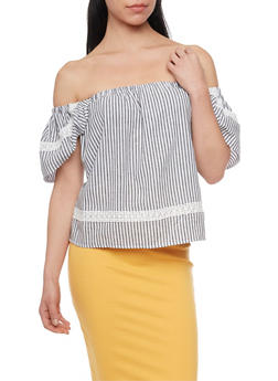 Striped Off the Shoulder Peasant Top - 1401069390936