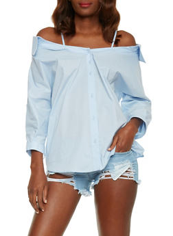 Collared Cold Shoulder Button Down Top - 1401069390941