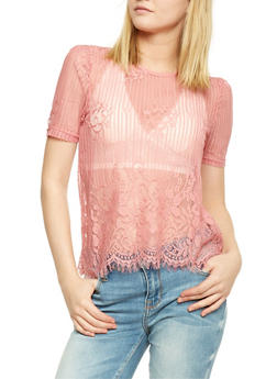 Short Sleeve Mixed Lace Top with Frayed Hem - 1401069390953
