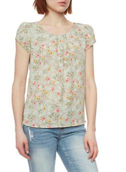 Cap Sleeve Floral Top - 1401069390969