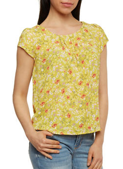 Cap Sleeve Floral Top - 1401069390969