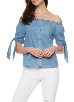 Off the Shoulder Tie Sleeve Chambray Top - 1401069390992