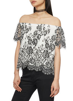 Lace Off the Shoulder Top with Frayed Scallop Hem - 1401069390994