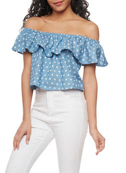 Polka Dot Denim Off the Shoulder Crop Top - 1401069391024