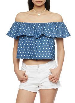 Polka Dot Denim Off the Shoulder Crop Top - 1401069391024