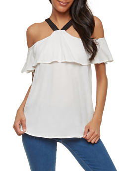 Ruffled Off the Shoulder Contrast Strap Blouse - 1401069391043
