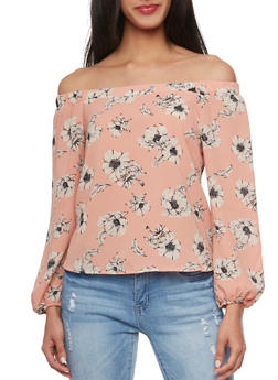 Off the Shoulder Floral Peasant Blouse - 1401069391046