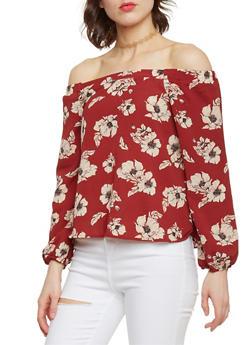 Off the Shoulder Floral Peasant Blouse - 1401069391046
