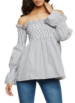 Smocked Off the Shoulder Striped Top - 1401069391077