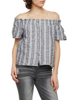 Off the Shoulder Top with Stripes - 1401069391181