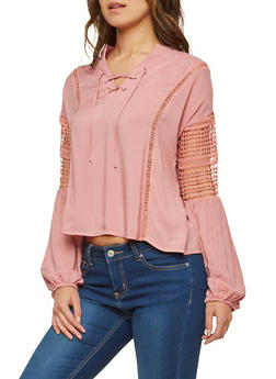 Lace Up Crochet Trim Top - 1401069391530