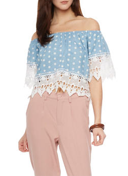 Polka Dot Chambray Crop Top with Crochet Trim - 1401069391550