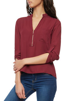 Long Sleeve Zip Front Blouse - 1401069391652