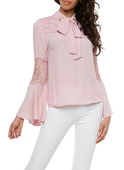 Lace Detail Tie Neck Blouse - 1401069391859