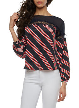 Striped Lace Trim Top - 1401069391965