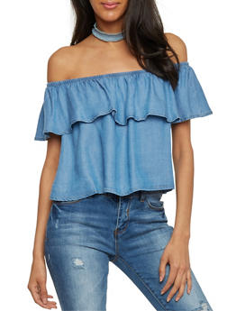 Ruffled Off the Shoulder Chambray Top - 1401069395050