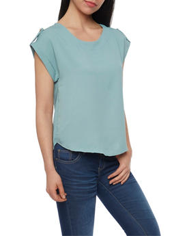 Solid Tab Sleeve Top with Back Keyhole - 1401069395087