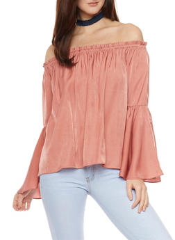 Off The Shoulder Top with Long Bell Sleeves - 1401069395091
