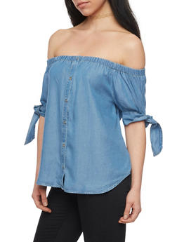 Off the Shoulder Denim Button Front Top with Tie Sleeves - 1401069395099